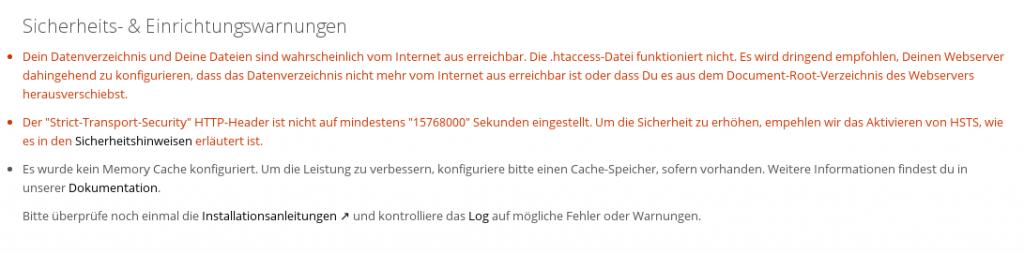 Nextcloud Sicherheitswarnungen