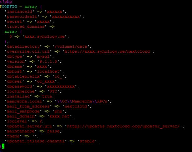 Nextcloud config.php